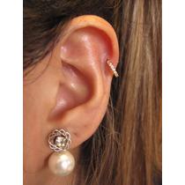Piercing De Orelha Tragus Fl Ouro Cartilagem Argola Zirconia