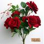 Flores Artificiais Rosas Vermelhas 6 Botões Grandes Buque