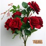 Flores Artificiais Buquê De Rosas Vermelhas 6 Botões Grandes