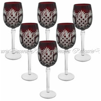 Conj. De Taças Para Vinho Em Cristal Vermelho Escuro