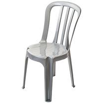Lote De 40 Cadeiras Cinza Inox Plástico - Empilháveis.