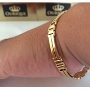 Bracelete Masculino Italiano De Ouro 18k 750 Máquina 3d Luxo