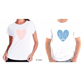 Kit 2 Camisetas Camisa Pra Chá De Bebê Revelação Boy Or Girl