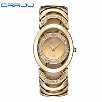 Relógio Feminino De Luxo Quartzo Pulseira Ouro 100% Origina