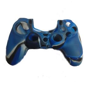 Suave Silicona Caucho Piel Caso Sony Ps4... (black&blu.)