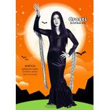 Disfraz Morticia + Peluca Adulto Halloween Local Belgrano R
