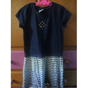 Vestido Niña Azul Marino Con Rayas Talla 6