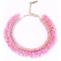 Collar/choker Piedras Rosas 2en1 Con Cadena Ajustable