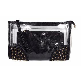 Bolsa Clutch Transparente Carteira De Mão Preta Com Tachas