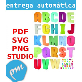 Alfabeto 3d Svg Pdf Png Studio Cricut Scanncut Silhouette