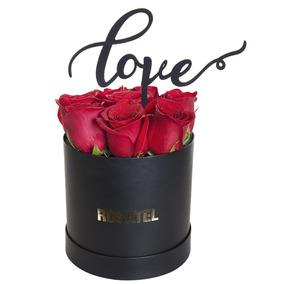 Sombrerera Negra Rosatel Con 9 Rosas