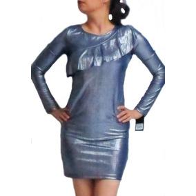 Sexy Vestido Azul Metalico Con Volante Cuidado Con El Perro