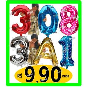 Balão Metalizado Numeros Letras Grande Dourado Prata Rosa