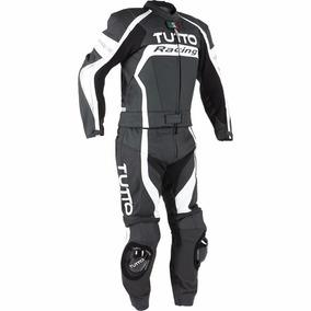 Macacão Tutto Moto Racing 2 Peças Preto, Branco E Prata