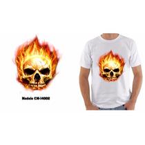 Camiseta Personalizada Masculina Caveira Fogo Engraçada