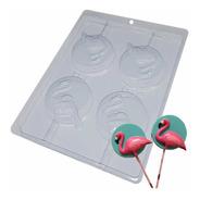 Forma Pirulito De Chocolate Flamingo Ref. 9694  - Pct 5 Unid