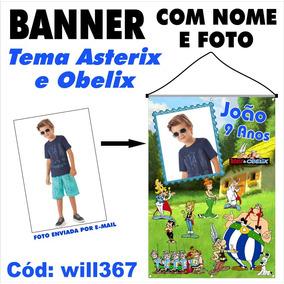 Banner Impresso Em Lona Aniversário Asterix E Obelix Will367