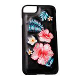 Funda De Piel Bordado Floral Iphone 7 Plus Negra