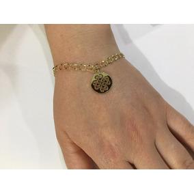 Pulseira 18cm Feminina Ouro 18k 750com Pingente Nó Amor
