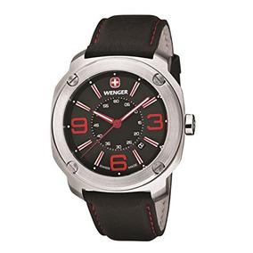 Wenger Escort Negro Dial De Acero Inoxidable Cuero Reloj De