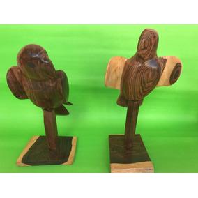 Escultura De Madera Maciza Loros Aves Centro De Mesa
