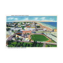 Miami, Florida, Aerial View Of Beach And Dog Track Print,