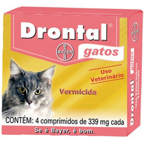 Drontal Gatos 339mg Da Bayer .caixa Com 4 Comprimidos.