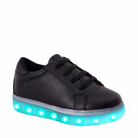 Tenis De Luces Para Niño Casuales Negros Urban Shoes Id220 A