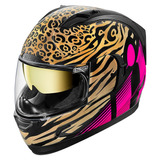 Icon Alianza Gt Shaguar Casco Integral De Oro/negro/rosa Md