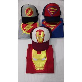 Super Heroes Camisetas Y Gorras Combo Niños Todos Los Perso
