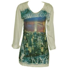 Camiseta Minivest Fem Dec V Mg ¾ Nude Estampa Tam G Ref 1237
