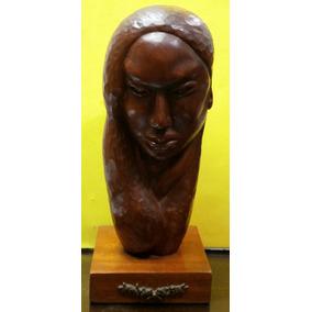 E1m Talla Madera Valdez Rostro De Mujer 40cm - Art. 1081