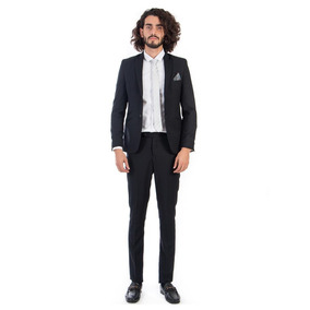 Traje Super Slim Fit De Hombre Color Negro Liso