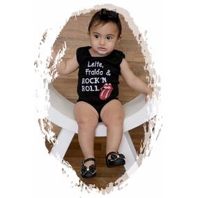 Body Infantil Leite Fralda E Rock Roll Mamadeira Bebê Metal