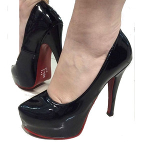 Sapato Meia Pata Preta Fechado Sola Vermelha Salto Alto Fino