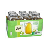 Set 6pz Frasco Cristal Ball Mason Jar 64oz Boca Ancha Galon