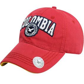 Gorra De Colombia Bordado Visera Curva Clásica Color Roja