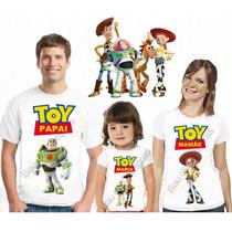 Kit 4 Camisetas Infantil Adulto Aniversário Festa Toy Story