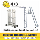 Escalera Aluminio Articulada Plegable 4 Tramos Y 3 Escalones