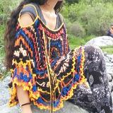 Tejido Artesanal Crochet Vestido Poncho De Playa