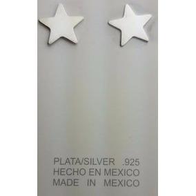 Aretes Broquel De Plata .925 Forma De Estrella Grande P Dama