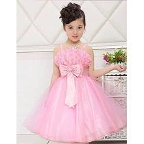 Hermoso Vestido Rosa De Gasa Para Niña, Talla 8