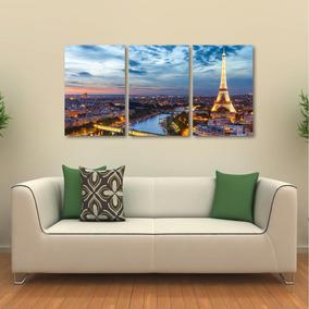 Quadro Decorativo Paris Torre Eiffel Paisagem Tecido 3 Peças