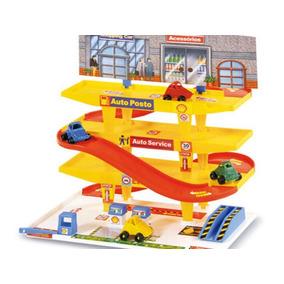 Brinquedo Auto Posto Troca De Óleo 3 Andares + 4 Carrinhos