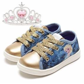 Tênis Original Frozen Disney Azul Com Dourado - Sugar Shoes