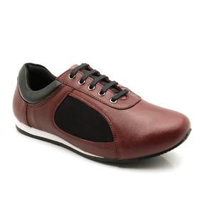 Sapatênis Feminino 603 Em Couro Marsala/preto Doctor Shoes