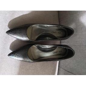 Zapatos Vía Uno Negro Brillo 37