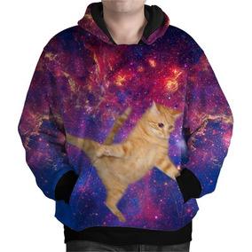 Blusa Moletom Gorro Bolso Pulo Gato Tumblr Universo Galáxia