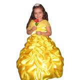 Vestido Festa Fantasia De Luxo Princesa Bela E A Fera + Luva