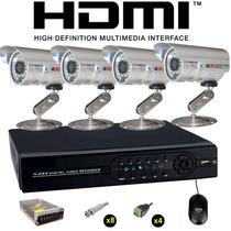 Kit Monitoramento Residencial H.264 + 4 Câmera Infra 36 Leds